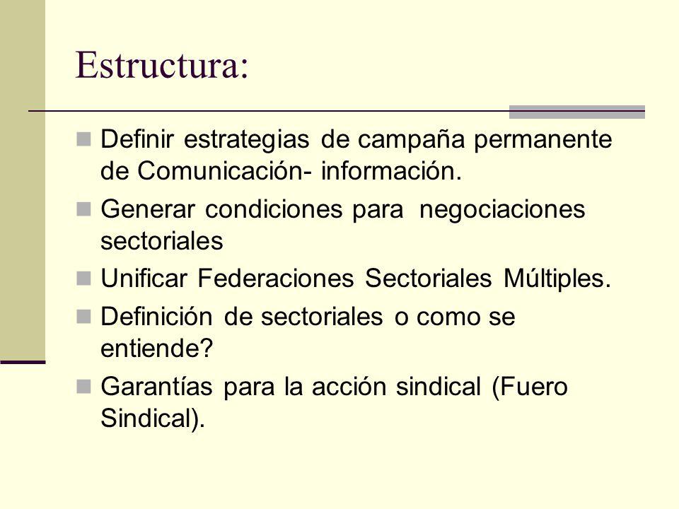 Estructura: Definir estrategias de campaña permanente de Comunicación- información. Generar condiciones para negociaciones sectoriales Unificar Federa
