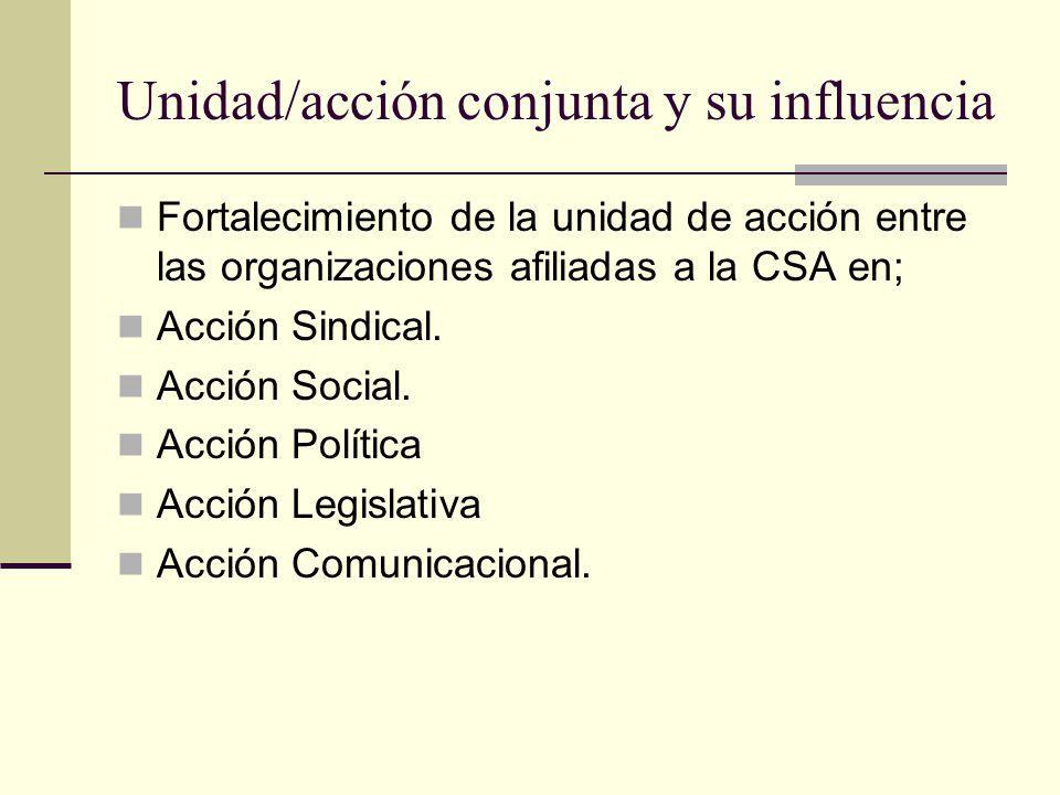 Unidad/acción conjunta y su influencia Fortalecimiento de la unidad de acción entre las organizaciones afiliadas a la CSA en; Acción Sindical. Acción
