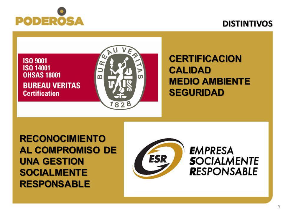 9 DISTINTIVOS CERTIFICACIONCALIDAD MEDIO AMBIENTE SEGURIDAD RECONOCIMIENTO AL COMPROMISO DE UNA GESTION SOCIALMENTE RESPONSABLE