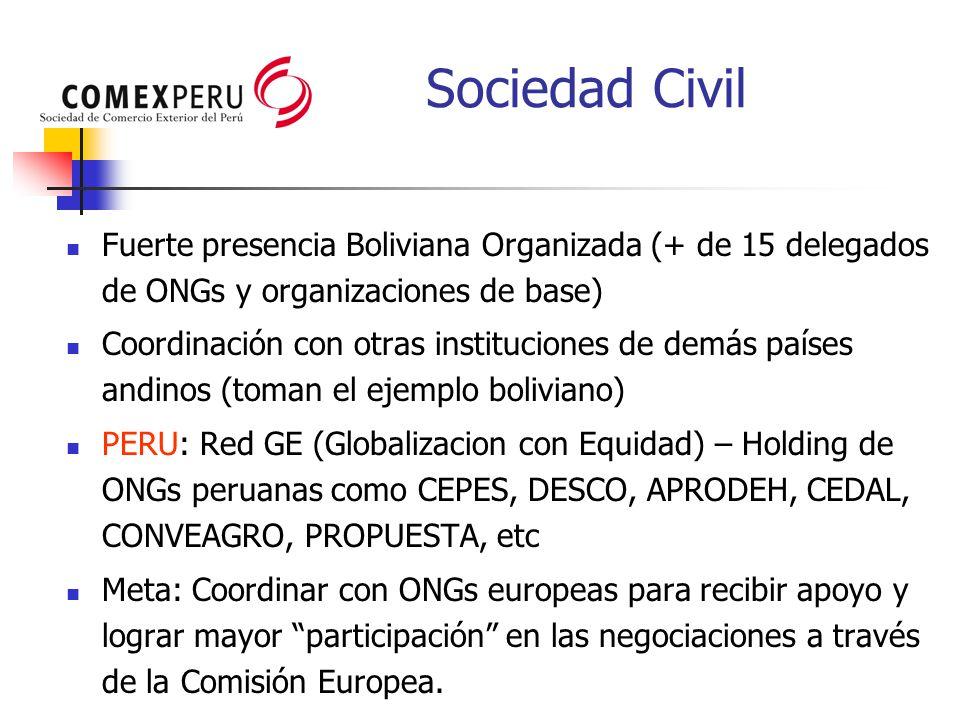 Sociedad Civil Fuerte presencia Boliviana Organizada (+ de 15 delegados de ONGs y organizaciones de base) Coordinación con otras instituciones de demá