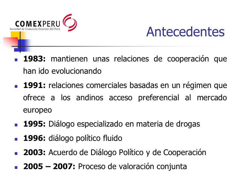 Antecedentes 1983: mantienen unas relaciones de cooperación que han ido evolucionando 1991: relaciones comerciales basadas en un régimen que ofrece a