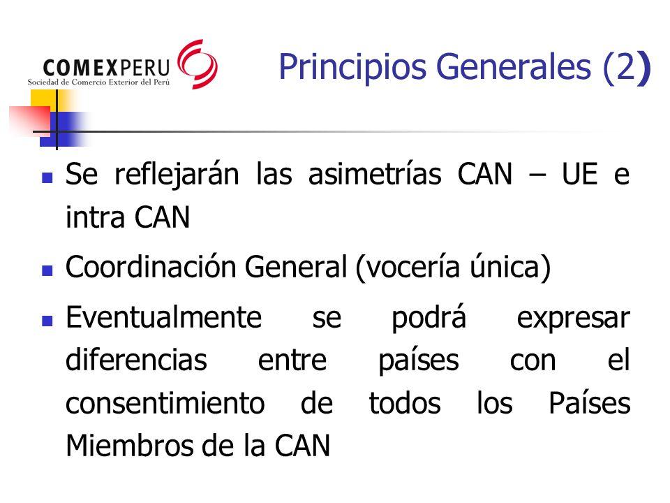 Se reflejarán las asimetrías CAN – UE e intra CAN Coordinación General (vocería única) Eventualmente se podrá expresar diferencias entre países con el