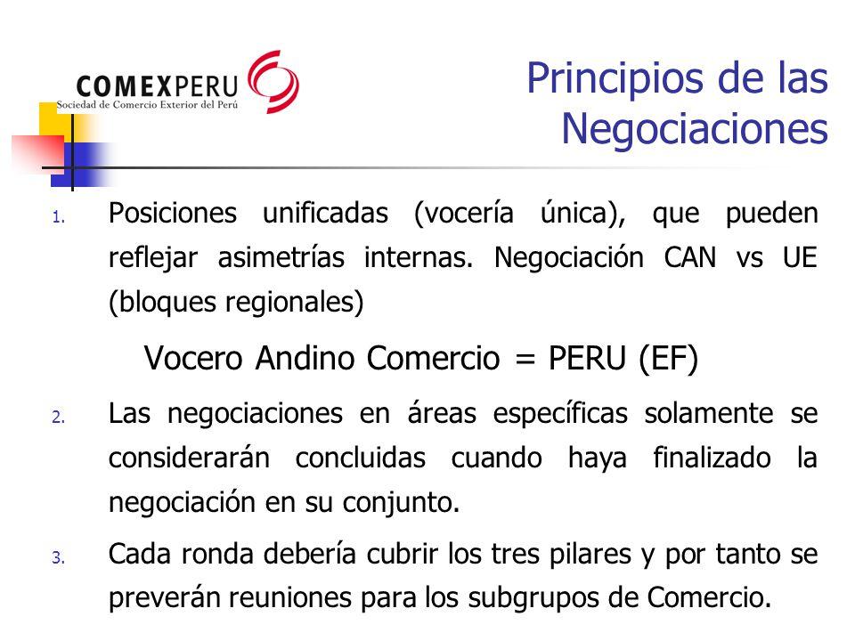 Principios de las Negociaciones 1. Posiciones unificadas (vocería única), que pueden reflejar asimetrías internas. Negociación CAN vs UE (bloques regi