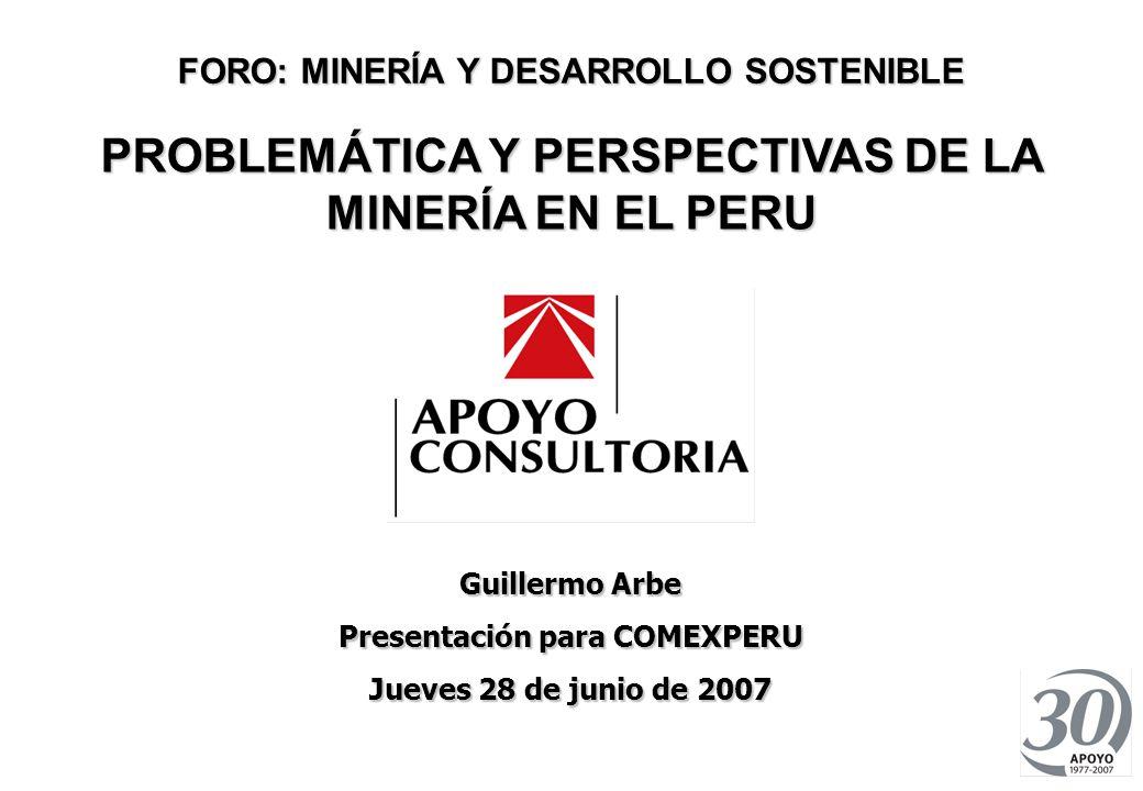 PROBLEMÁTICA Y PERSPECTIVAS DE LA MINERÍA EN EL PERÚ JUNIO 2007 0 FORO: MINERÍA Y DESARROLLO SOSTENIBLE PROBLEMÁTICA Y PERSPECTIVAS DE LA MINERÍA EN EL PERU Guillermo Arbe Presentación para COMEXPERU Jueves 28 de junio de 2007