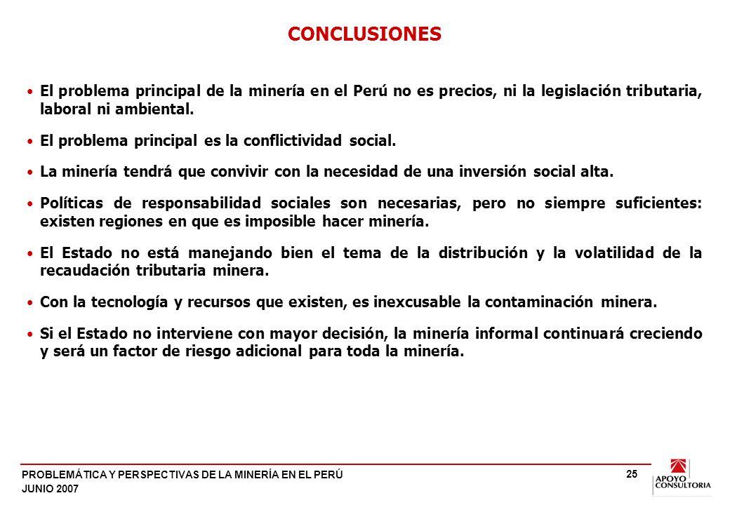 PROBLEMÁTICA Y PERSPECTIVAS DE LA MINERÍA EN EL PERÚ JUNIO 2007 25 El problema principal de la minería en el Perú no es precios, ni la legislación tributaria, laboral ni ambiental.