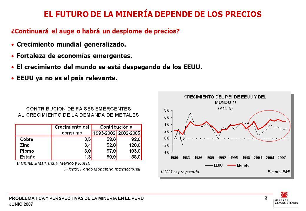 PROBLEMÁTICA Y PERSPECTIVAS DE LA MINERÍA EN EL PERÚ JUNIO 2007 3 Crecimiento mundial generalizado. Fortaleza de economías emergentes. El crecimiento