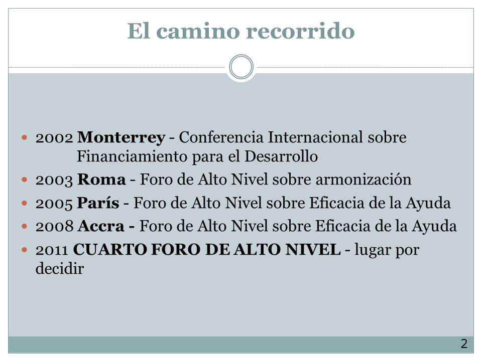 El camino recorrido 2002 Monterrey - Conferencia Internacional sobre Financiamiento para el Desarrollo 2003 Roma - Foro de Alto Nivel sobre armonización 2005 París - Foro de Alto Nivel sobre Eficacia de la Ayuda 2008 Accra - Foro de Alto Nivel sobre Eficacia de la Ayuda 2011 CUARTO FORO DE ALTO NIVEL - lugar por decidir 2
