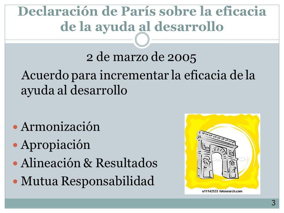 Declaración de París sobre la eficacia de la ayuda al desarrollo 2 de marzo de 2005 Acuerdo para incrementar la eficacia de la ayuda al desarrollo Armonización Apropiación Alineación & Resultados Mutua Responsabilidad 3