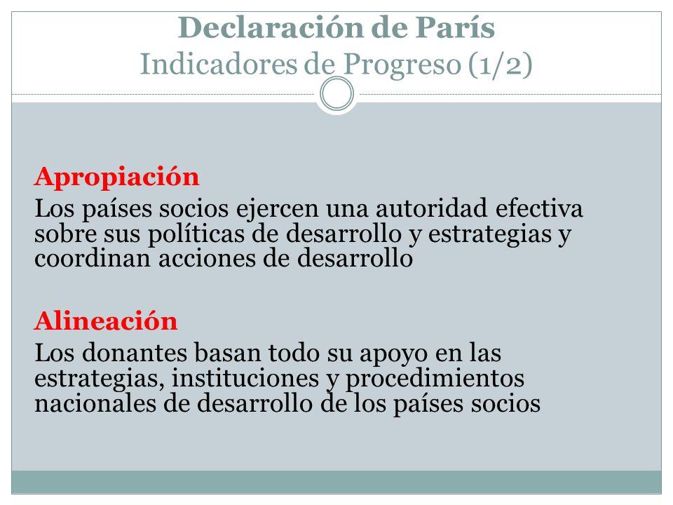 Declaración de París Indicadores de Progreso (1/2) Apropiación Los países socios ejercen una autoridad efectiva sobre sus políticas de desarrollo y estrategias y coordinan acciones de desarrollo Alineación Los donantes basan todo su apoyo en las estrategias, instituciones y procedimientos nacionales de desarrollo de los países socios