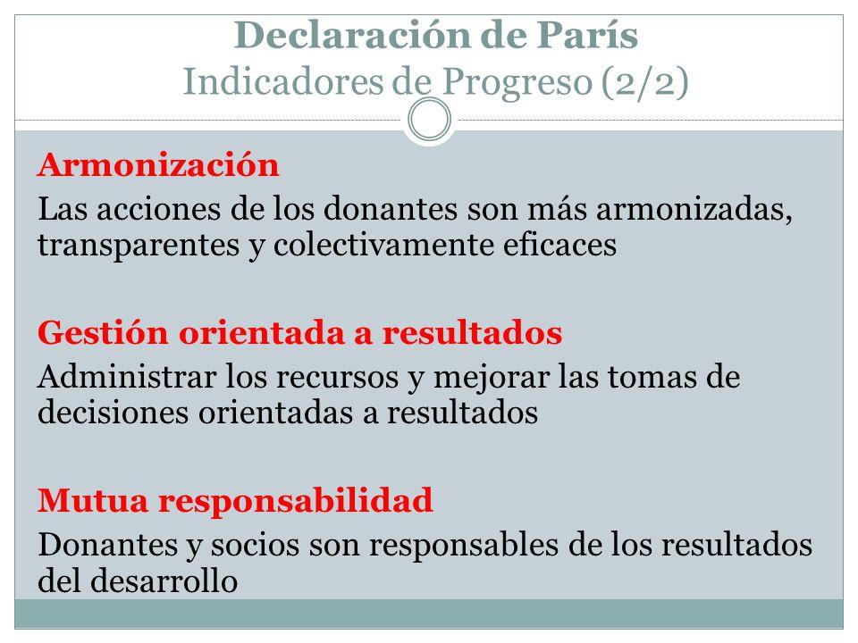 Declaración de París Indicadores de Progreso (2/2) Armonización Las acciones de los donantes son más armonizadas, transparentes y colectivamente eficaces Gestión orientada a resultados Administrar los recursos y mejorar las tomas de decisiones orientadas a resultados Mutua responsabilidad Donantes y socios son responsables de los resultados del desarrollo