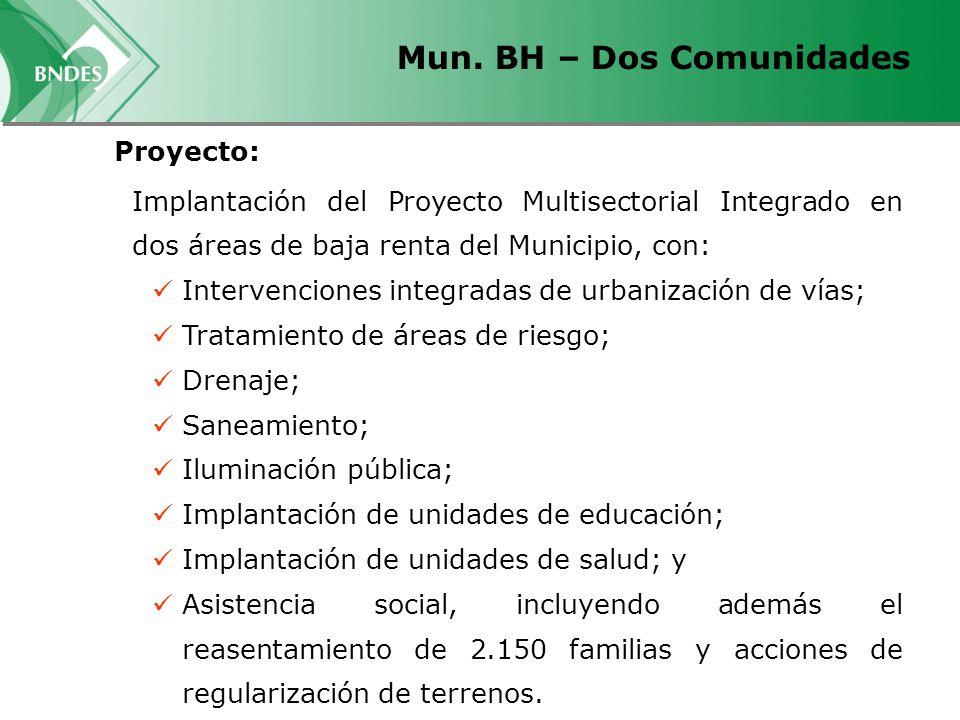 Mun. BH – Dos Comunidades Implantación del Proyecto Multisectorial Integrado en dos áreas de baja renta del Municipio, con: Intervenciones integradas