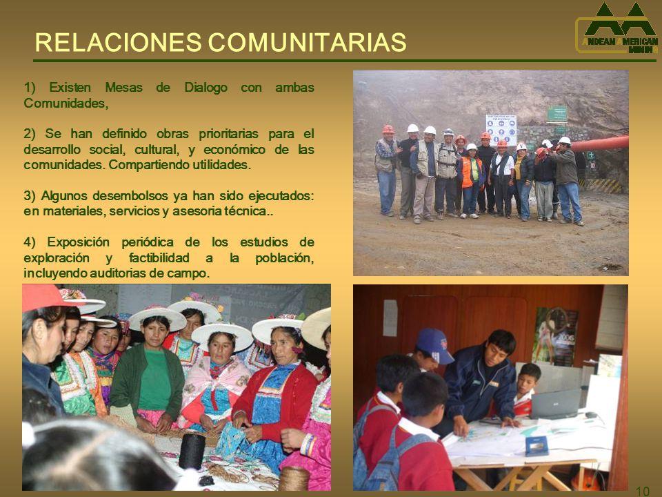 10 RELACIONES COMUNITARIAS 1) Existen Mesas de Dialogo con ambas Comunidades, 2) Se han definido obras prioritarias para el desarrollo social, cultural, y económico de las comunidades.