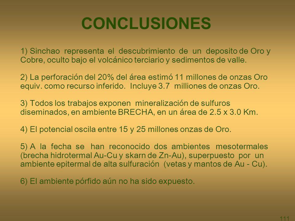 111 CONCLUSIONES 1) Sinchao representa el descubrimiento de un deposito de Oro y Cobre, oculto bajo el volcánico terciario y sedimentos de valle.