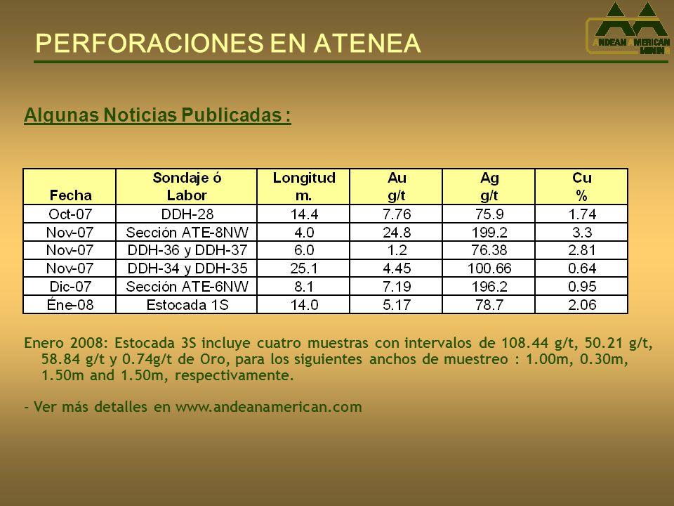 PERFORACIONES EN ATENEA Algunas Noticias Publicadas : Enero 2008: Estocada 3S incluye cuatro muestras con intervalos de 108.44 g/t, 50.21 g/t, 58.84 g/t y 0.74g/t de Oro, para los siguientes anchos de muestreo : 1.00m, 0.30m, 1.50m and 1.50m, respectivamente.