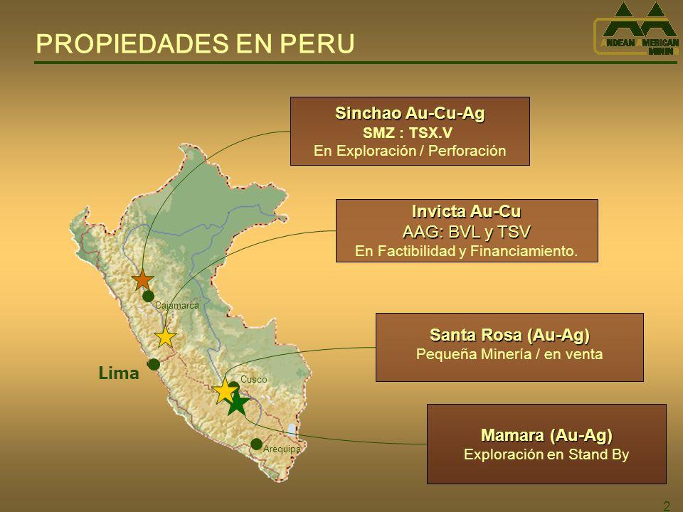 3 PERCEPCION CORPORATIVA Andean American presenta ciertas diferencias con otras juniors : 1.Tiene dos nuevos Descubrimientos de Oro: Invicta y Sinchao.