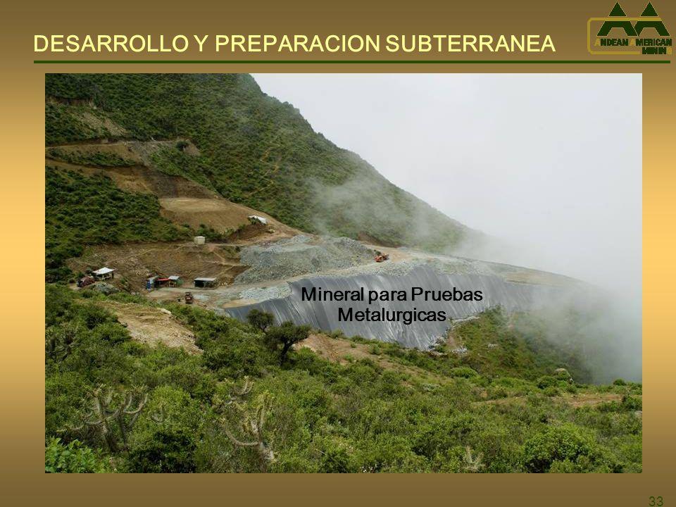 33 Mineral para Pruebas Metalurgicas DESARROLLO Y PREPARACION SUBTERRANEA