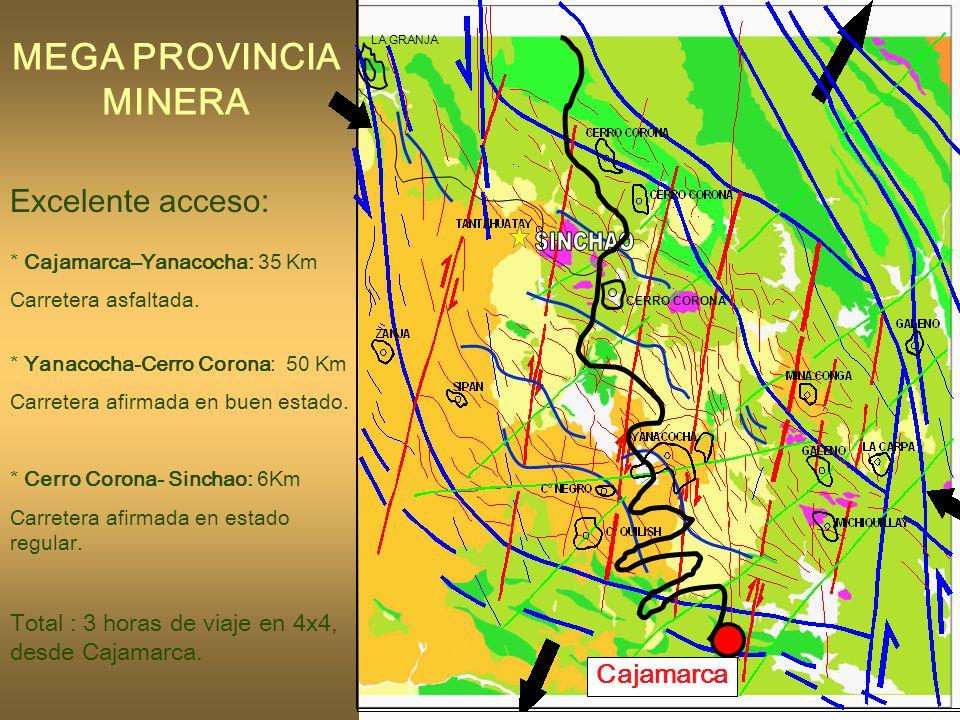 63 MEGA PROVINCIA MINERA Excelente acceso: * Cajamarca–Yanacocha: 35 Km Carretera asfaltada.