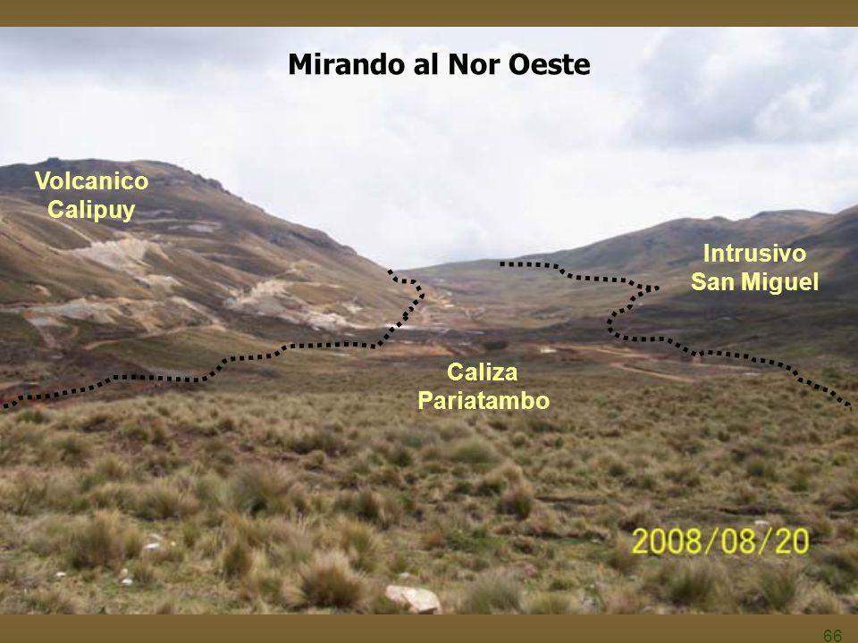 66 Volcanico Calipuy Caliza Pariatambo Intrusivo San Miguel Mirando al Nor Oeste