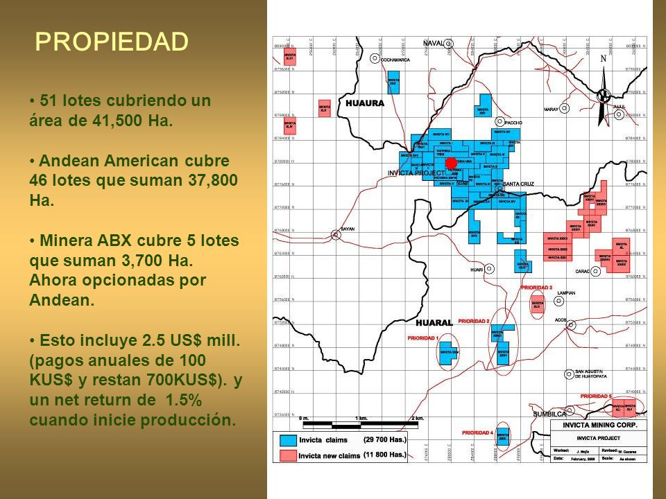 7 51 lotes cubriendo un área de 41,500 Ha.Andean American cubre 46 lotes que suman 37,800 Ha.