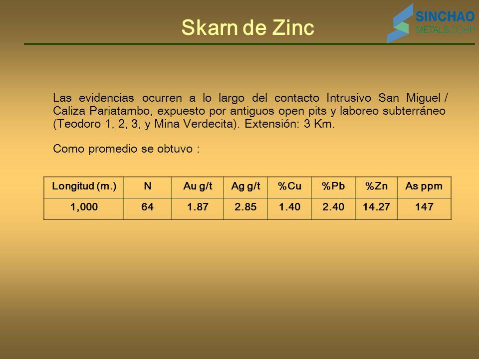 Skarn de Zinc Las evidencias ocurren a lo largo del contacto Intrusivo San Miguel / Caliza Pariatambo, expuesto por antiguos open pits y laboreo subterráneo (Teodoro 1, 2, 3, y Mina Verdecita).