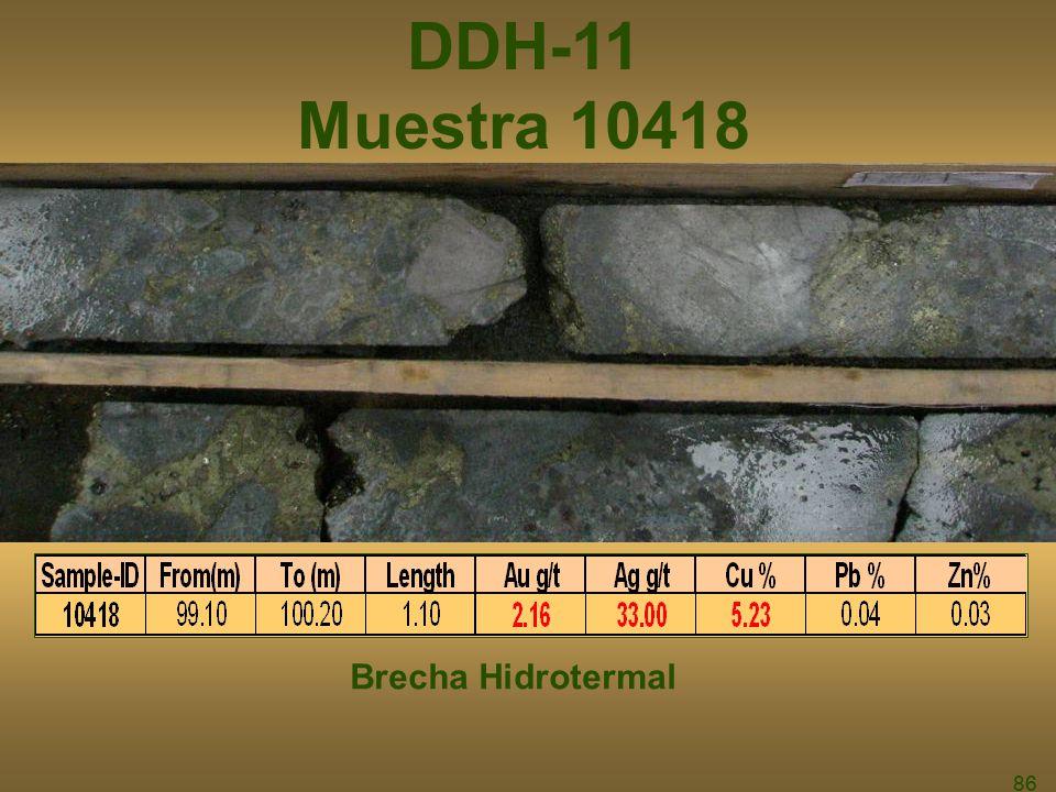86 DDH-11 Muestra 10418 Brecha Hidrotermal