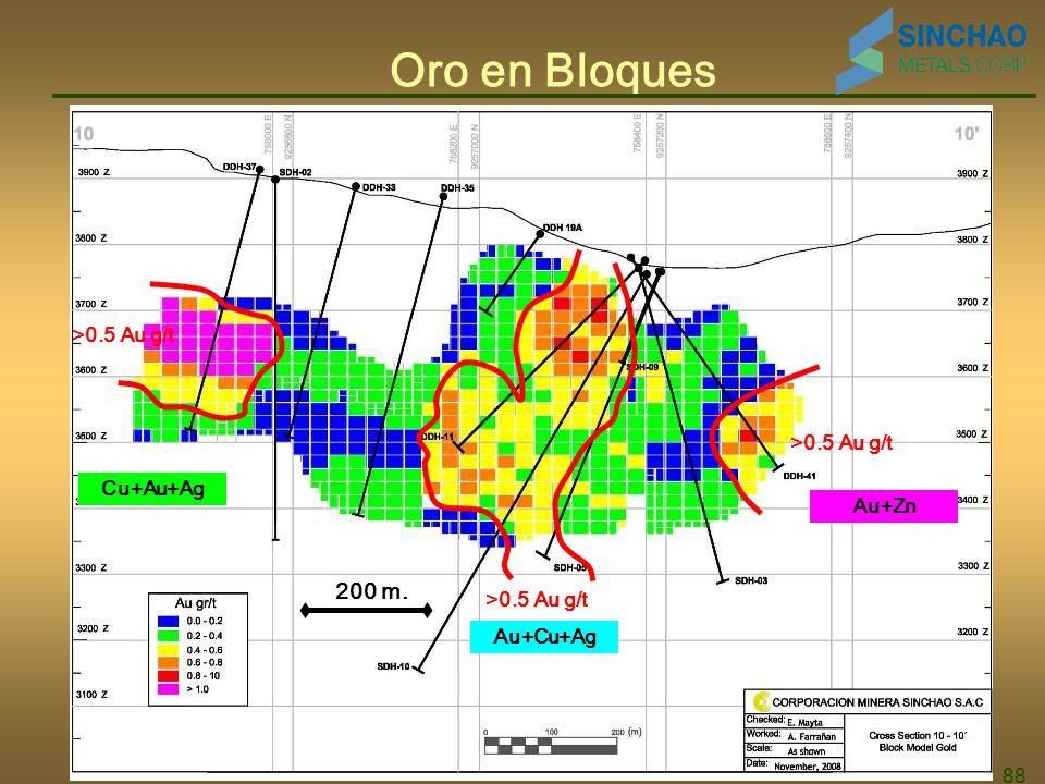 88 Oro en Bloques Au+Cu+Ag Au+Zn-Ag Cu+Au+Ag >0.5 Au g/t Au+Zn Au+Cu+Ag Cu+Au+Ag 200 m.