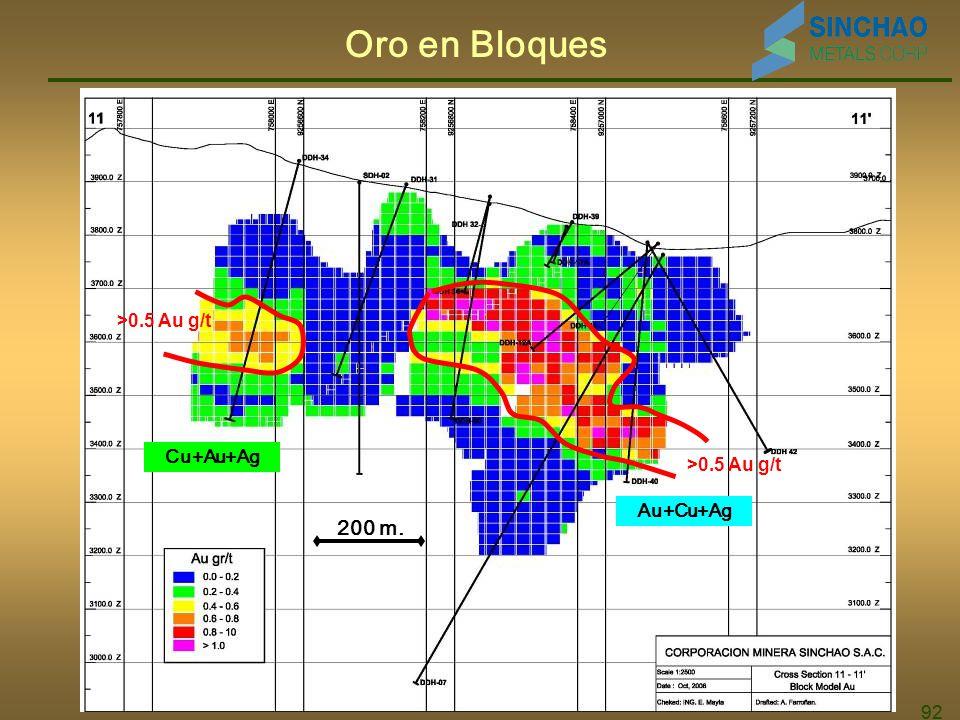 92 Oro en Bloques Au+Cu+Ag Cu+Au+Ag >0.5 Au g/t 200 m.