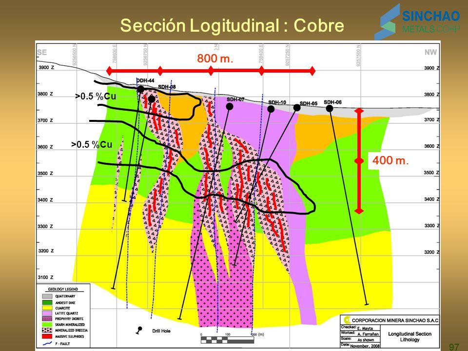 97 Sección Logitudinal : Cobre 800 m. 400 m. >0.5 %Cu