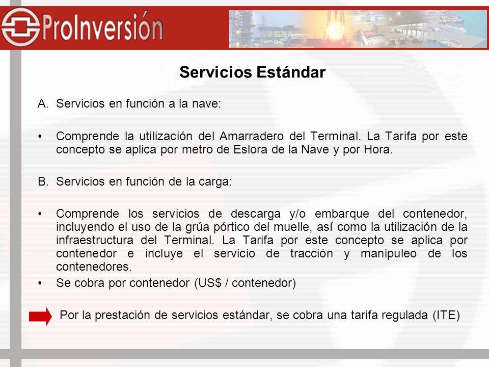 Servicios Estándar A.Servicios en función a la nave: Comprende la utilización del Amarradero del Terminal. La Tarifa por este concepto se aplica por m