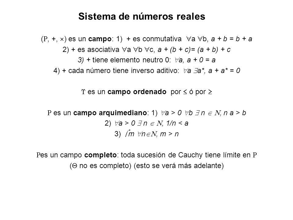 Sistema de números reales (, +, ) es un campo: 1) + es conmutativa a b, a + b = b + a 2) + es asociativa a b c, a + (b + c)= (a + b) + c 3) + tiene el