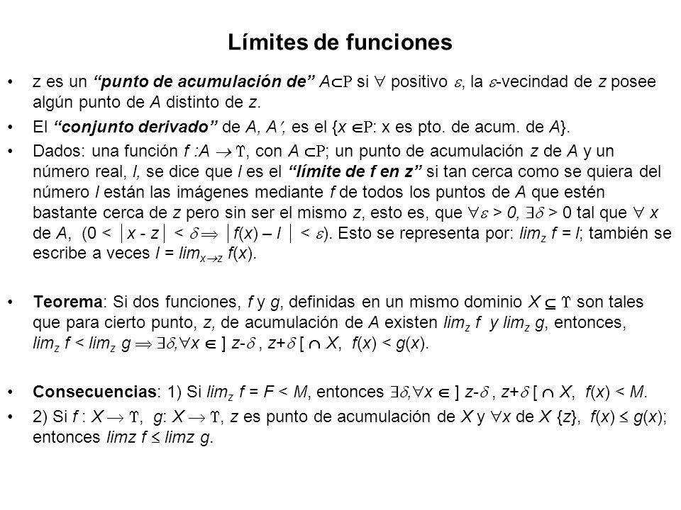 Límites de funciones z es un punto de acumulación de A si positivo, la -vecindad de z posee algún punto de A distinto de z. El conjunto derivado de A,
