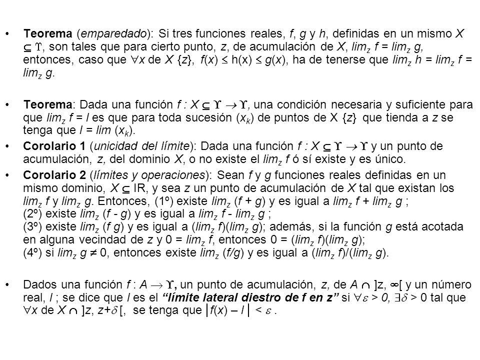 Teorema (emparedado): Si tres funciones reales, f, g y h, definidas en un mismo X, son tales que para cierto punto, z, de acumulación de X, lim z f =