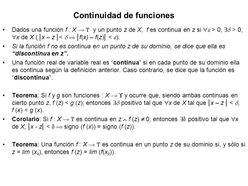 Continuidad de funciones Dados una función f : X y un punto z de X, f es continua en z si > 0, > 0, x de X ( x – z < f(x) – f(z) < ). Si la función f