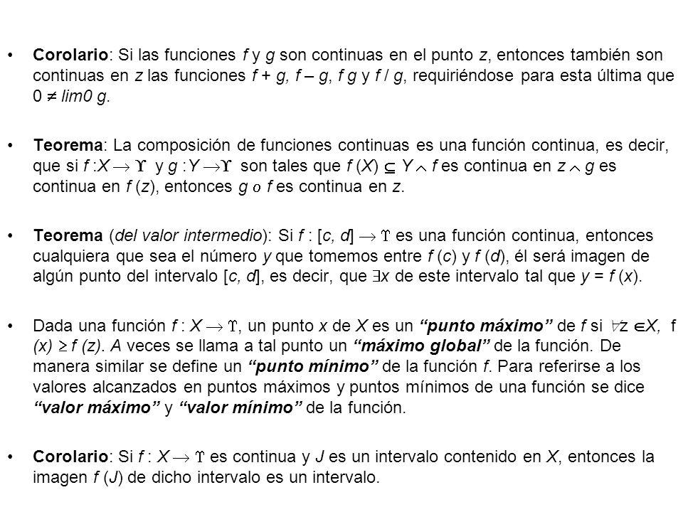 Corolario: Si las funciones f y g son continuas en el punto z, entonces también son continuas en z las funciones f + g, f – g, f g y f / g, requiriénd