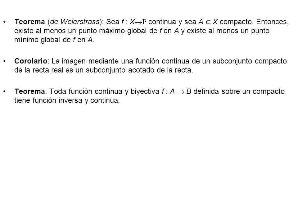Teorema (de Weierstrass): Sea f : X continua y sea A X compacto. Entonces, existe al menos un punto máximo global de f en A y existe al menos un punto