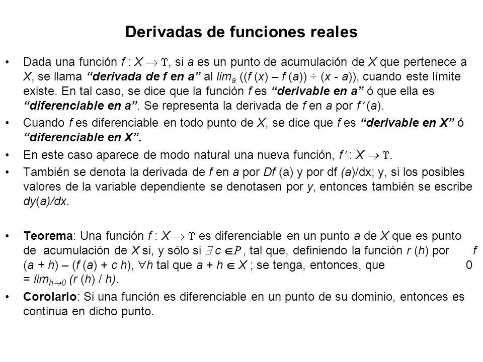 Derivadas de funciones reales Dada una función f : X, si a es un punto de acumulación de X que pertenece a X, se llama derivada de f en a al lim a ((f
