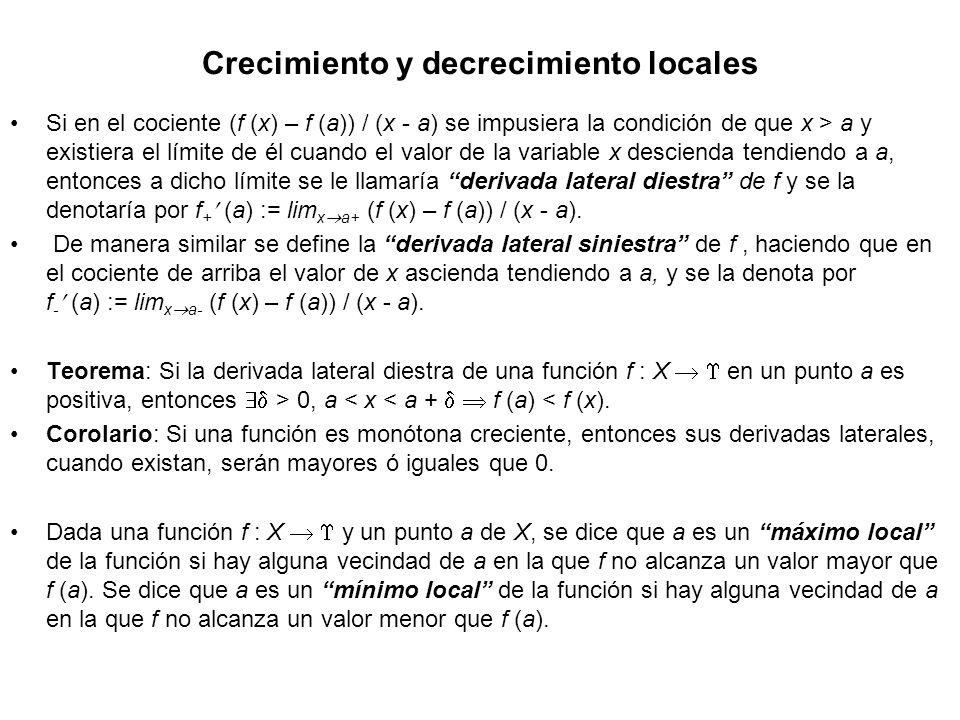 Crecimiento y decrecimiento locales Si en el cociente (f (x) – f (a)) / (x - a) se impusiera la condición de que x > a y existiera el límite de él cua