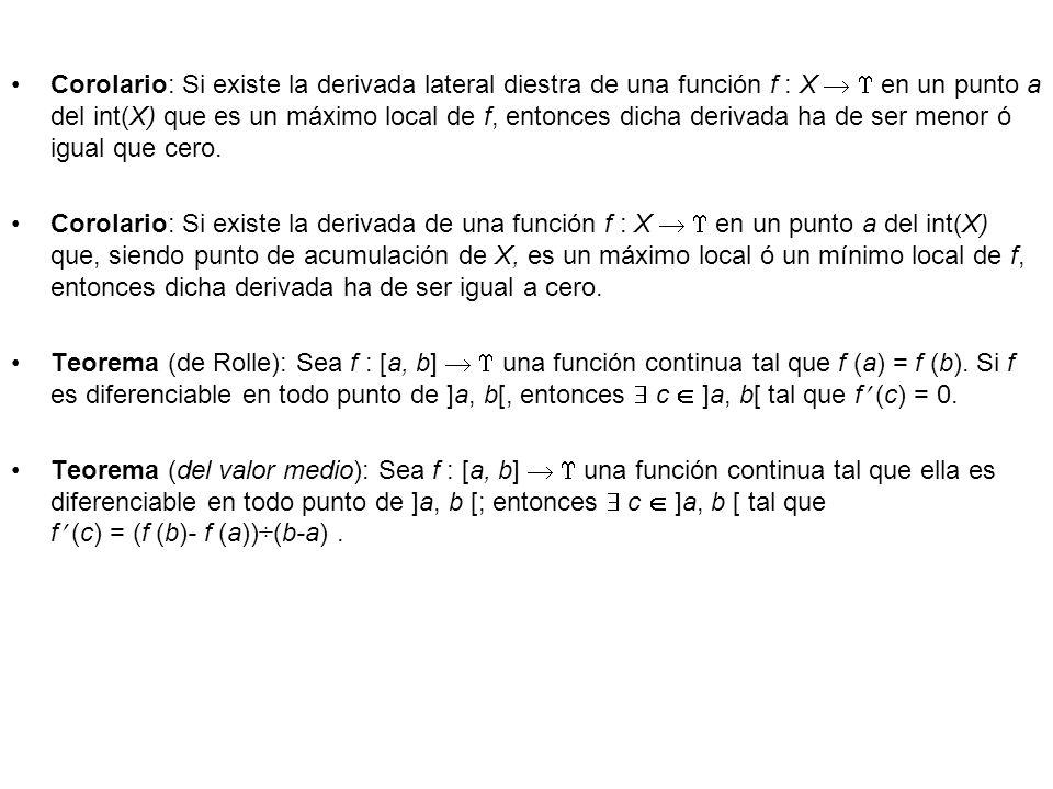 Corolario: Si existe la derivada lateral diestra de una función f : X en un punto a del int(X) que es un máximo local de f, entonces dicha derivada ha