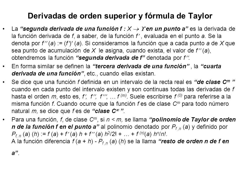 Derivadas de orden superior y fórmula de Taylor La segunda derivada de una función f : X en un punto a es la derivada de la función derivada de f, a s