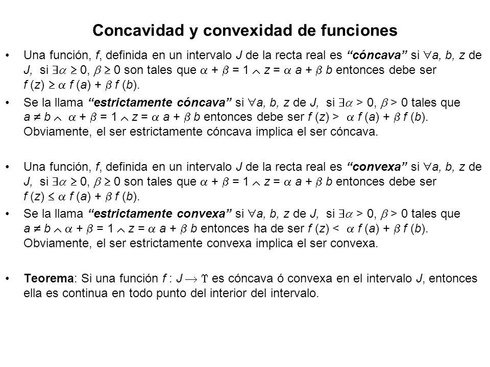 Concavidad y convexidad de funciones Una función, f, definida en un intervalo J de la recta real es cóncava si a, b, z de J, si 0, 0 son tales que + =