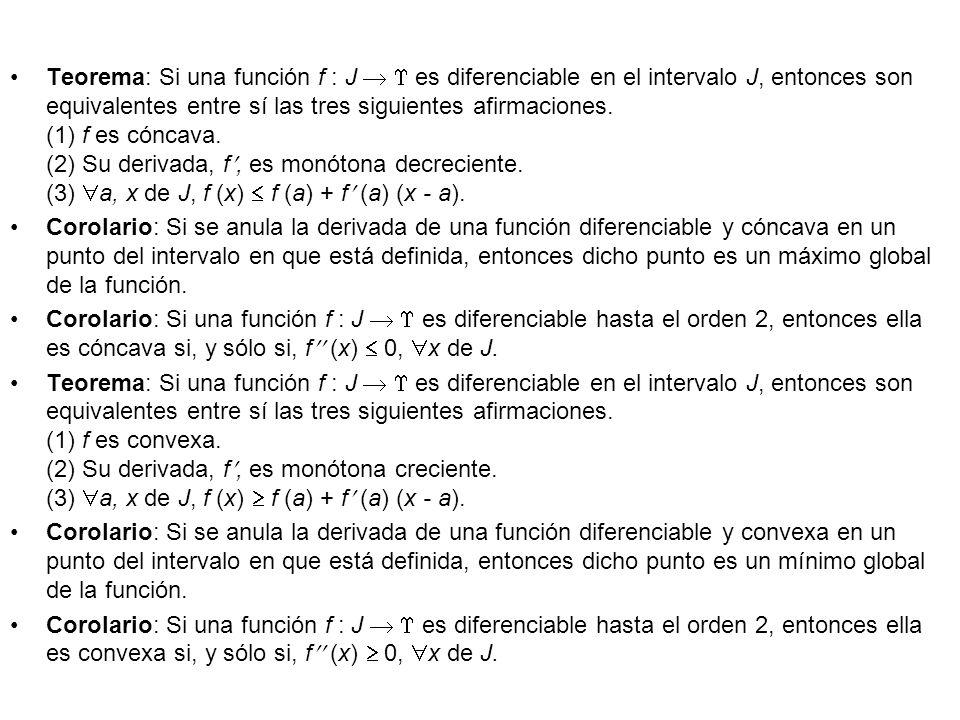 Teorema: Si una función f : J es diferenciable en el intervalo J, entonces son equivalentes entre sí las tres siguientes afirmaciones. (1) f es cóncav