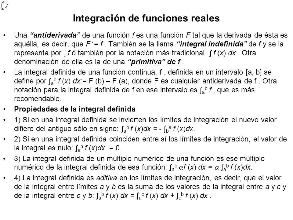 Integración de funciones reales Una antiderivada de una función f es una función F tal que la derivada de ésta es aquélla, es decir, que F = f. Tambié
