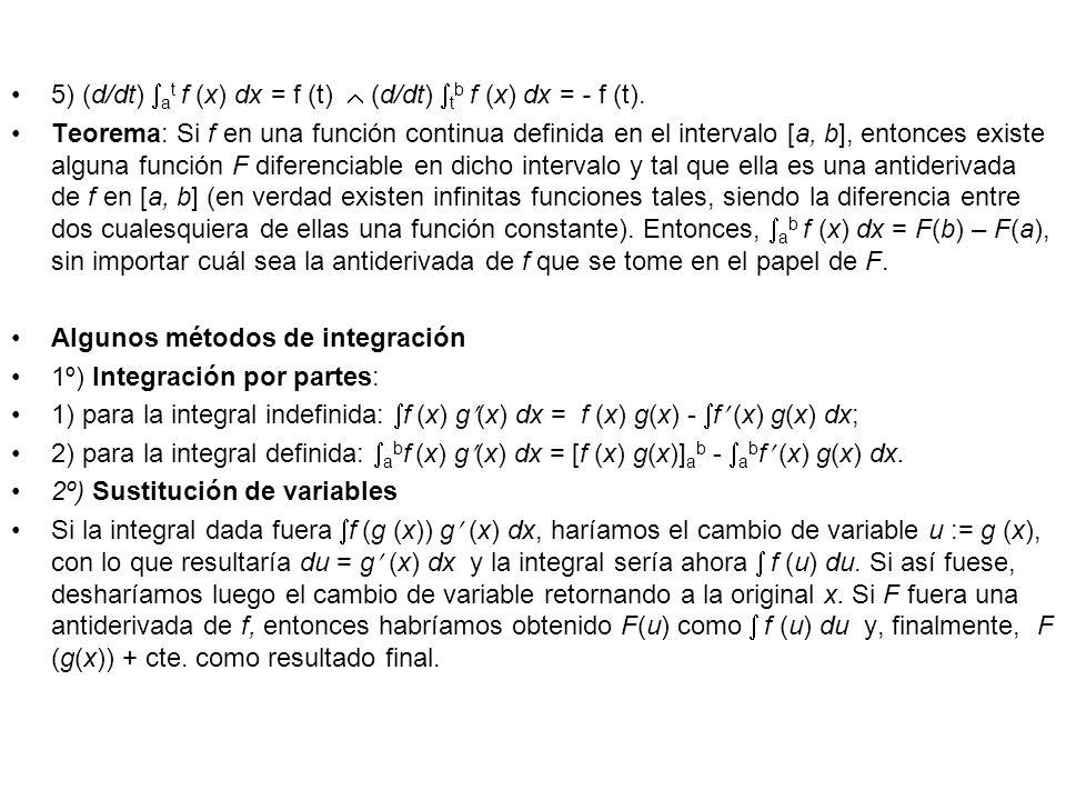 5) (d/dt) a t f (x) dx = f (t) (d/dt) t b f (x) dx = - f (t). Teorema: Si f en una función continua definida en el intervalo [a, b], entonces existe a