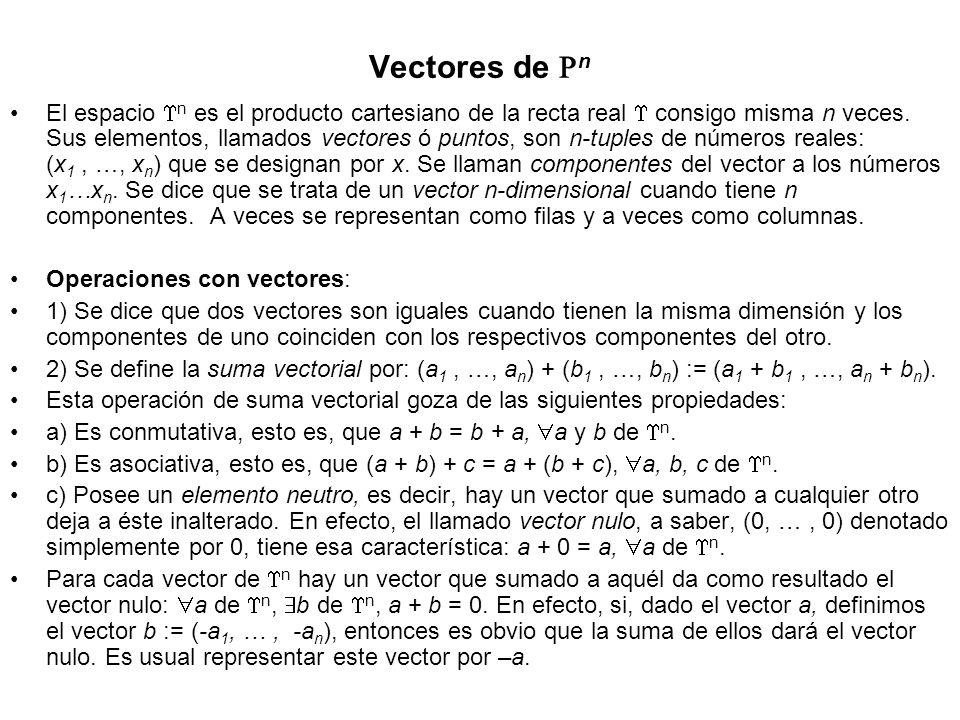 Vectores de n El espacio n es el producto cartesiano de la recta real consigo misma n veces. Sus elementos, llamados vectores ó puntos, son n-tuples d