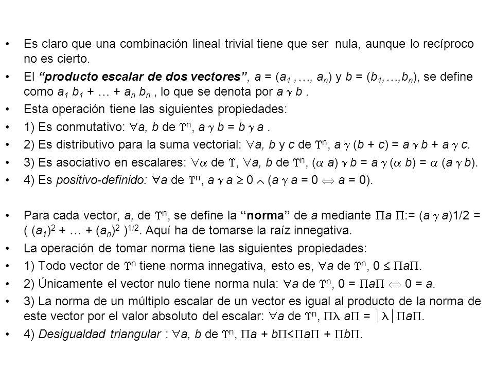 Es claro que una combinación lineal trivial tiene que ser nula, aunque lo recíproco no es cierto. El producto escalar de dos vectores, a = (a 1,…, a n