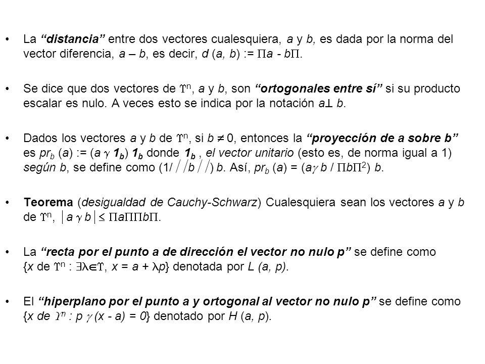 La distancia entre dos vectores cualesquiera, a y b, es dada por la norma del vector diferencia, a – b, es decir, d (a, b) := a - b. Se dice que dos v