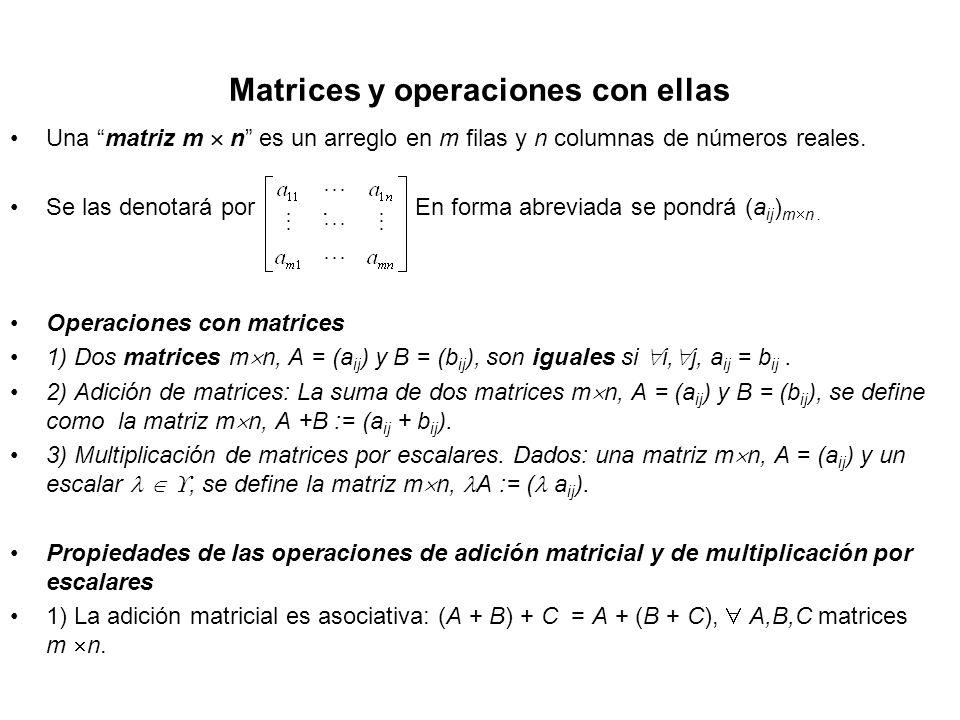 Matrices y operaciones con ellas Una matriz m n es un arreglo en m filas y n columnas de números reales. Se las denotará por. En forma abreviada se po