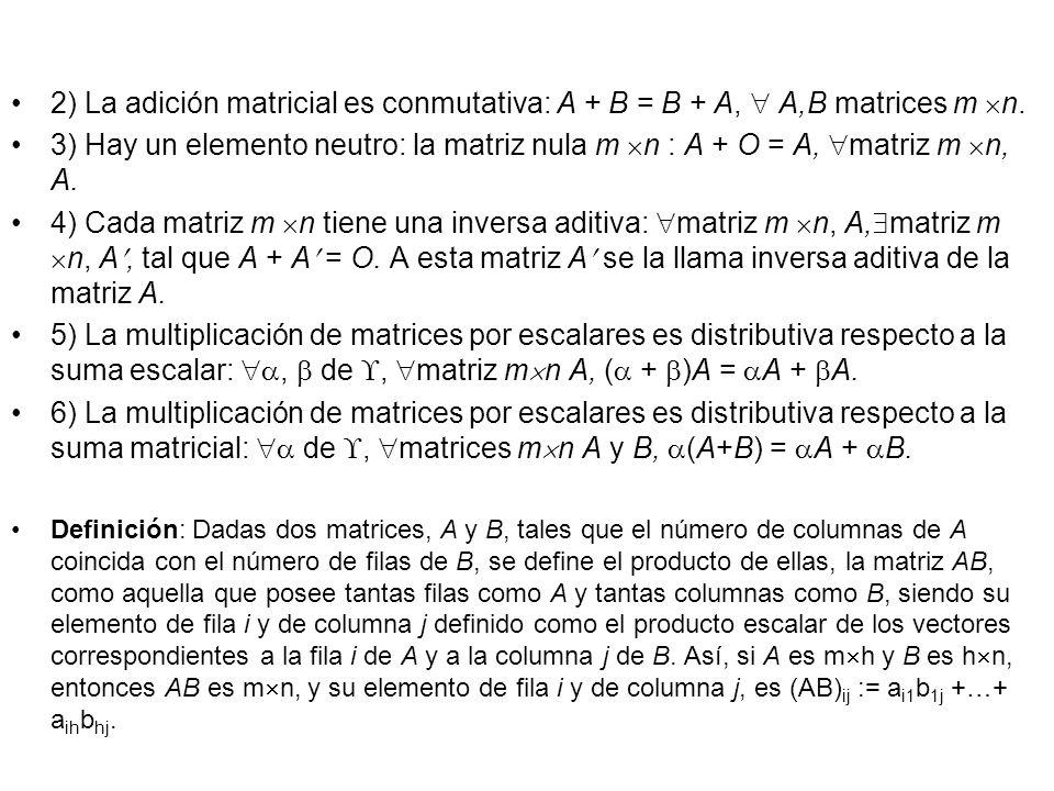 2) La adición matricial es conmutativa: A + B = B + A, A,B matrices m n. 3) Hay un elemento neutro: la matriz nula m n : A + O = A, matriz m n, A. 4)
