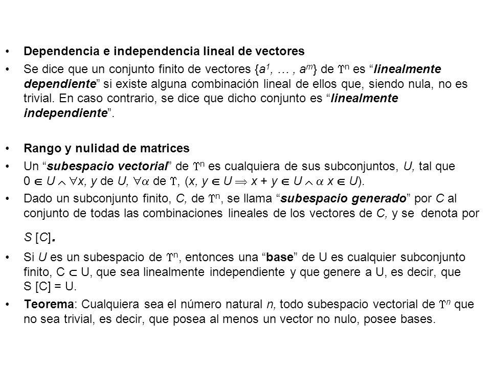Dependencia e independencia lineal de vectores Se dice que un conjunto finito de vectores {a 1, …, a m } de n es linealmente dependiente si existe alg