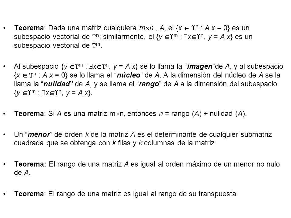Teorema: Dada una matriz cualquiera m n, A, el {x n : A x = 0} es un subespacio vectorial de n ; similarmente, el {y m : x n, y = A x} es un subespaci
